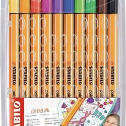 قلم حبر سائل 0.4 رفيع طقم 10 لون Stabilo point 88
