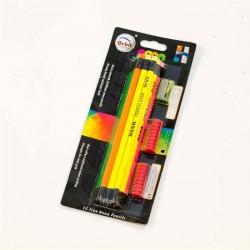قلم رصاص خشب اسود طبي فسفوري مع جلدة مع براية ORBIT
