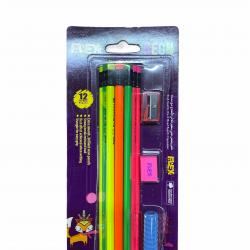 قلم رصاص اسود طبي مثلث مع محاي وبراي ومساكة قلم 1/12 FLEX NEON