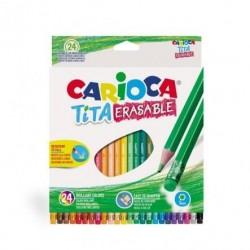 الوان خشب 24 لون قابل للمحي carioca