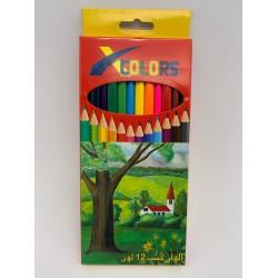 3 علب الوان خشب 12 لون طويل X COLOR