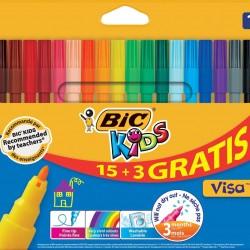 الوان فلوماستر رفيع 18 لون BIC VISA