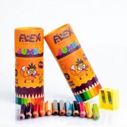 الوان خشب عريض جامبو قصير 12 لون مع براية FLEX JUMBO 3214
