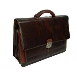 حقيبة كتف جلد بني دلوماسية 3 خانات