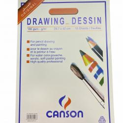 دفتر رسم سلك كانسون 29.7*42 سم 180 غم 15 ورقة CANSON A3