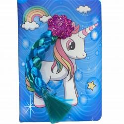 دفتر اوتوغراف جلد يوني كورن مع خصلة شعر