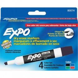 قلم لوح طقم 4\1 اسود\احمر\ازرق\اخضر EXPO