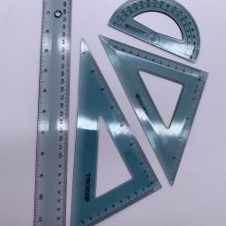 طقم هندسي بلاستيك سميك 4 قطع 30 سم